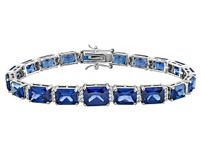 Blue And White Cubic Zirconia Sterling Silver Bracelet 48.34ctw