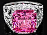 Pink And White Cubic Zirconia Sterling Silver Ring 17.04ctw