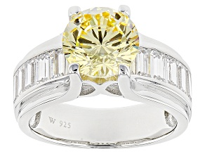 Yellow And White Cubic Zirconia  Rhodium Over Sterling Silver Ring 7.25ctw