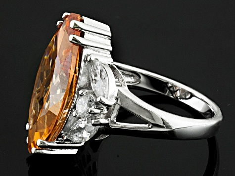 Champagne And White Cubic Zirconia Rhodium Over Silver Ring 14.00ctw