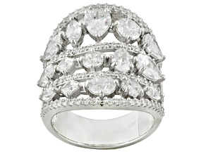 Cubic Zirconia Rhodium Over Sterling Silver Ring 11.13ctw