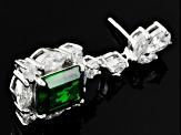 Green And White Cubic Zirconia Sterling Silver Earrings 20.56ctw