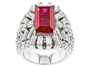 Lab Created Ruby And White Cubic Zirconia Silver Ring 15.71ctw