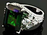 Green And White Cubic Zirconia Sterling Silver Ring 22.90ctw