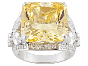 Yellow And White Cubic Zirconia Rhodium Over Sterling Silver Ring 22.60ctw