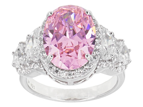 Pink And White Cubic Zirconia Sterling Silver Ring 11.67ctw