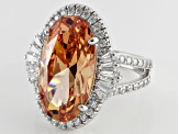 Brown And White Cubic Zirconia Sterling Silver Ring 14.30ctw