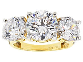 Cubic Zirconia 18k Yellow Gold Over Silver Ring 13.94ctw