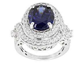 Blue And White Cubic Zirconia Sterling Silver Ring 10.33ctw