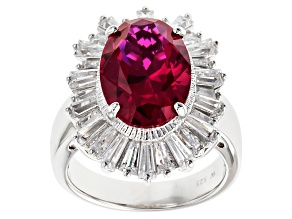 Lab Created Ruby And White Cubic Zirconia Sterling Silver Ring 8.89ctw