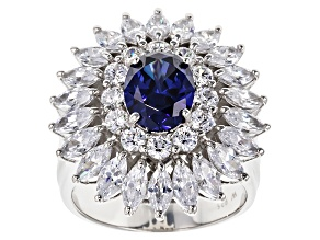 Blue And White Cubic Zirconia Sterling Silver Ring 9.64ctw
