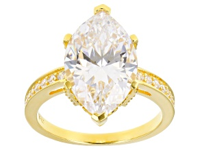Scintillant Cut White Cubic Zirconia 18K Yellow Gold Over Sterling Silver Ring 8.80ctw