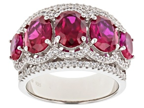 Lab Created Ruby & White Cubic Zirconia Sterling Silver Ring 3.17ctw