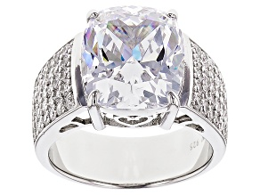 Cubic Zirconia Sterling Silver Ring 12.82ctw