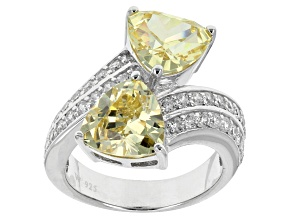 Yellow And White Cubic Zirconia Sterling Silver Ring 6.23ctw