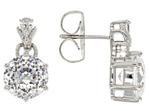 Cubic Zirconia Rhodium Over Sterling Silver Earrings 10.16ctw
