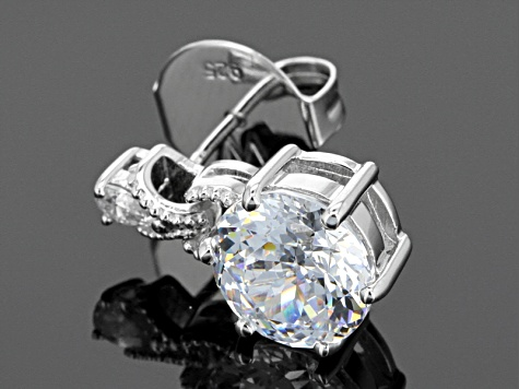 Cubic Zirconia Sterling Silver Earrings 10.16ctw