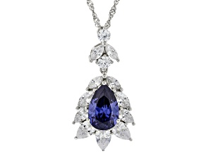 Blue And White Cubic Zirconia Rhodium Over Sterling Silver Pendant With Chain 9.06ctw