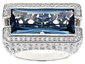 Blue And White Cubic Zirconia Rhodium Over Sterling Silver Ring 14.84ctw