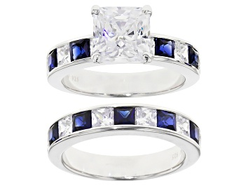 Picture of Blue Lab Sapphire & White Cubic Zirconia Scintillant Cut Rhodium Over Silver Ring With Band 6.98ctw