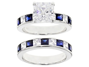Blue Lab Sapphire & White Cubic Zirconia Scintillant Cut Rhodium Over Silver Ring With Band 6.88ctw