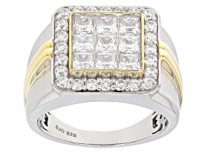 White Cubic Zirconia Rhodium Over Silver And 18k Yellow Gold Over Silver Mens Ring 4.25ctw