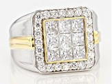 White Cubic Zirconia Rhodium Over Silver And 18k Yellow Gold Over Silver Gents Ring 4.25ctw