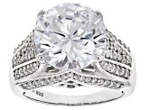 White Cubic Zirconia Rhodium Over Sterling Silver Ring 12.29ctw