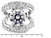 White Cubic Zirconia Rhodium Over Sterling Silver Ring 9.10ctw