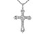White Cubic Zirconia Rhodium Over Sterling Silver Cross Pendant With Chain 3.42ctw