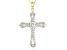 White Cubic Zirconia 18k Yellow Gold Over Silver Cross Pendant With Chain 3.42ctw
