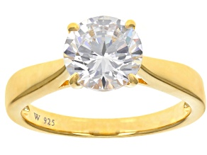 White Cubic Zirconia 18k Yellow Gold Over Sterling Silver Ring 3.46ctw