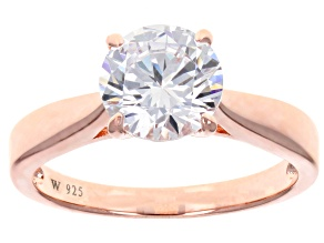 White Cubic Zirconia 18k Rose Gold Over Sterling Silver Ring 3.46ctw