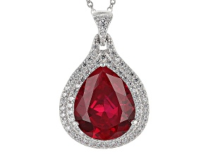 Lab Created Ruby And White Cubic Zirconia Silver Pendant With Chain 11.65ctw