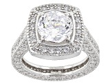 Cubic Zirconia Silver Ring With Band 10.68ctw (5.81ctw DEW)