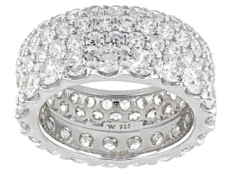 Cubic Zirconia Silver Ring Set Of 2, 9.97ctw (5.23ctw DEW)