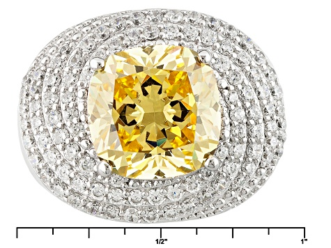 Yellow And White Cubic Zirconia Silver Ring 12.30ctw (6.10ctw DEW)
