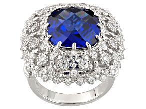 Blue And White Cubic Zirconia Silver Ring 13.79ctw