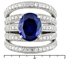 Blue And White Cubic Zirconia Silver Ring 8.41ctw