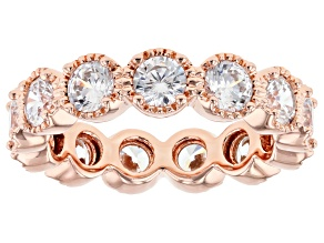 White Cubic Zirconia 18k Rose Gold Over Sterling Silver Ring 5.59ctw