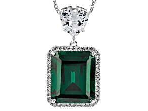 Green And White Cubic Zirconia Sterling Silver Pendant With Chain 26.99ctw