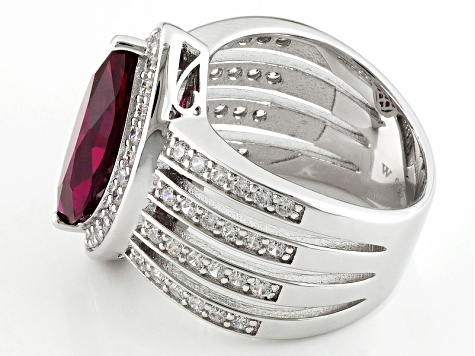 Lab Created Ruby And White Cubic Zirconia Silver Ring 6.52ctw