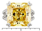 Yellow And White Cubic Zirconia Silver Ring 30.67ctw (12.62ctw DEW)