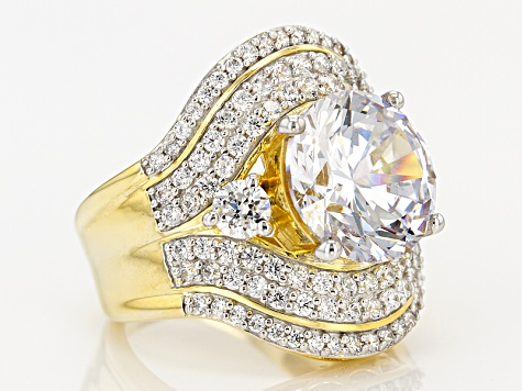 Cubic Zirconia 18k Yellow Gold Over Silver Ring 15.53ctw (8.75ctw DEW)