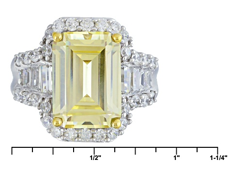 Yellow And White Cubic Zirconia Silver Ring 15.08ctw (9.95ctw DEW)