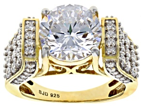 Cubic Zirconai 18k Yellow Gold Over Silver Ring 8.76ctw (4.80ctw DEW)