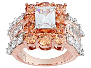 White And Brown Cubic Zirconia 18k Rose Gold Over Silver Ring 10.23ctw (6.06ctw DEW)