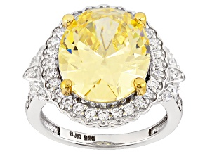 Yellow And White Cubic Zirconia Silver Ring 15.12ctw (9.00ctw DEW)