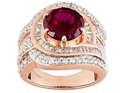 Lab Created Ruby And White Cubic Zirconia 18k Rose Gold Over Silver Ring 7.33ctw