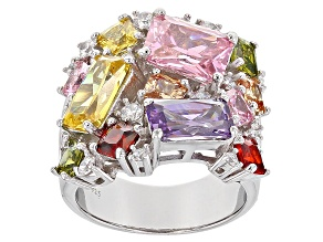 Multicolor Cubic Zirconia Silver Ring 15.50ctw